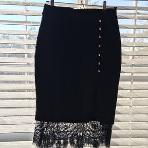 NWT Black skirt with edgy lace!